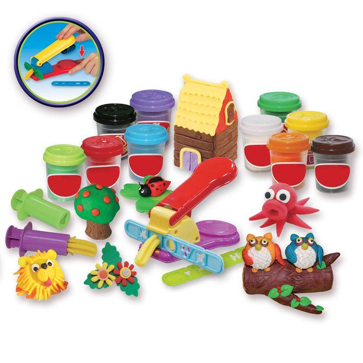 030812 - Main d'artiste spécial pâte à modeler avec un grand nombre d'outils avec pots de différentes couleurs