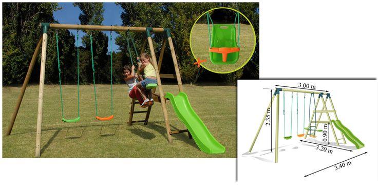 Ce portique-balançoire est en structure bois (traité autoclave classe 4). Soulet nous propose ici le modèle ALDINA qui est composé d'un toboggan et de 3 agrès (2 balançoires et 1 vis-à-vis).  Est inclus 1 coquille balançoire pour bébé. Structure garantie 10 ans. accessoires 1 an