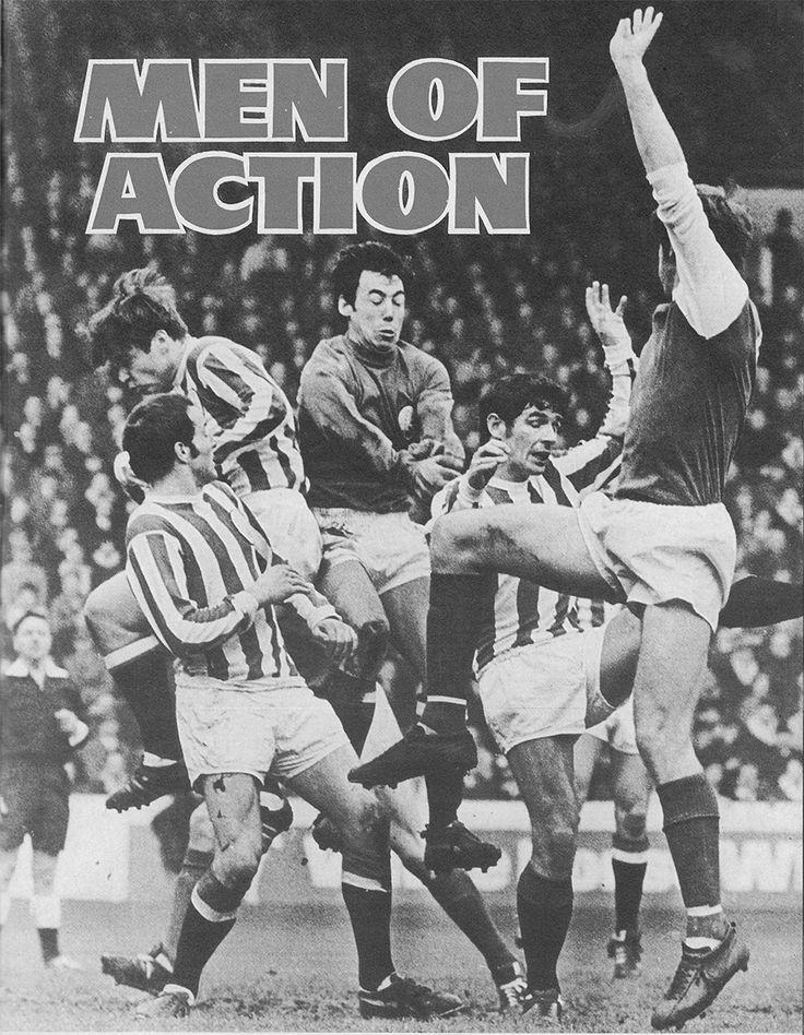 30th October 1968. Stoke City goalkeeper Gordon Banks is enveloped by shaky defending from Alex Elder, John Marsh and Eric Skeels as Sheffield Wednesday forward Jimmy McCalliog attempts to reach the ball, at Hillsborough.
