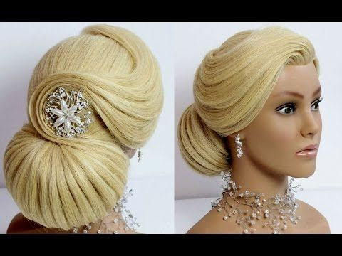 Elegant Bun Hairstyle. Wedding prom updo for long hair. Tutorial - YouTube