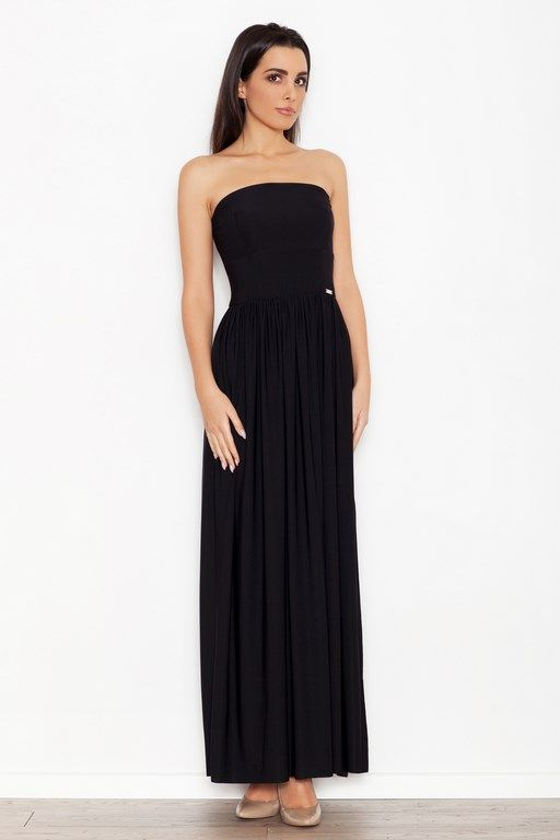 Black dress with a maxi length of the exposed top part