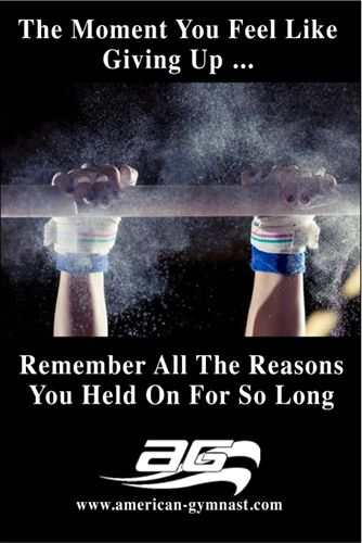 """Hold On"" Motivational - 24"" X 36"" Gymnastics Poster"
