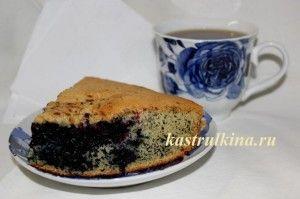 Очень простой и быстрый в приготовлении черничный пирог.