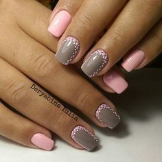 Everyday nails, Grey and pink nails, Manicure 2016, Manicure nail design, May…