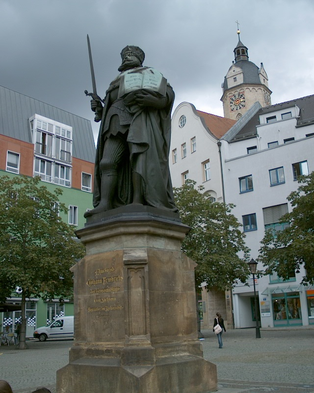 Duke Johann Friedrich aka Hanfried, Marktplatz Jena (founder of Jenaer university in 1558)