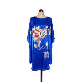 Silk Kaftan Floral - Electric Blue