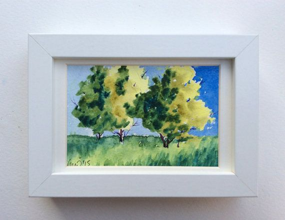 Lovely summer trees in this unique lively and fresh original watercolor postcard handpainted with artist quality watercolors. By UNIQUEPOSTCARDS