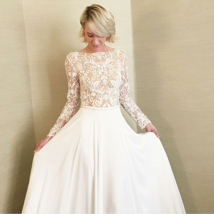 273 best wedding dress images on pinterest marriage for Modest wedding dresses with long sleeves