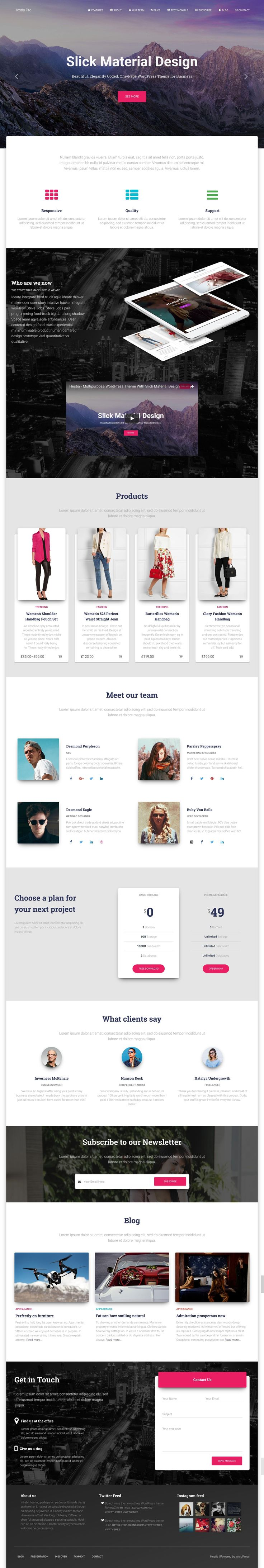'Hestia Pro' is a powerful One Page WordPress theme suited for a digital agency or service business. Features include intro slideshow, services section (with video embed), team, pricing table, testimonials, newsletter sign up box, blog feed, Twitter Feed, Instagram Feed and a contact form. This is a solid follow up One Page theme by ThemeIsle to their hugely popular Zerif Lite WordPress theme. Note the $99 Price Tag is for full club membership with 20+ themes and 3 domain licenses - huge…