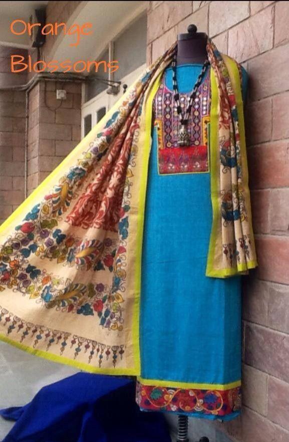 A beautiful Kalamkari dupatta and kurta with Gujarati hand embroidered yoke at www.facebook.com/orangeblossomwomensclothing