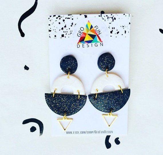 Handmade Statement Clay Earrings Oversized Black Glitter Geometric Style