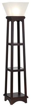 Arts and Crafts - Mission Monaco Espresso 3-Shelf Etagere Torchiere Floor Lamp traditional floor lamps
