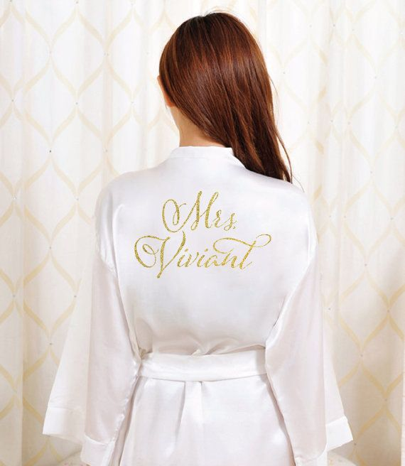 Dress the bit before you dress in this fabulous Bride bathrobe! Custom Printed in a metallic glitter print on a soft high-quality lightweight