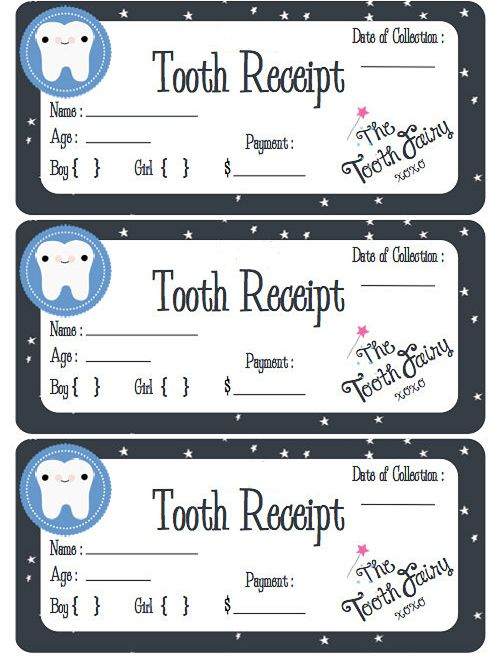 Free Printable Tooth Fairy Receipt Pdf