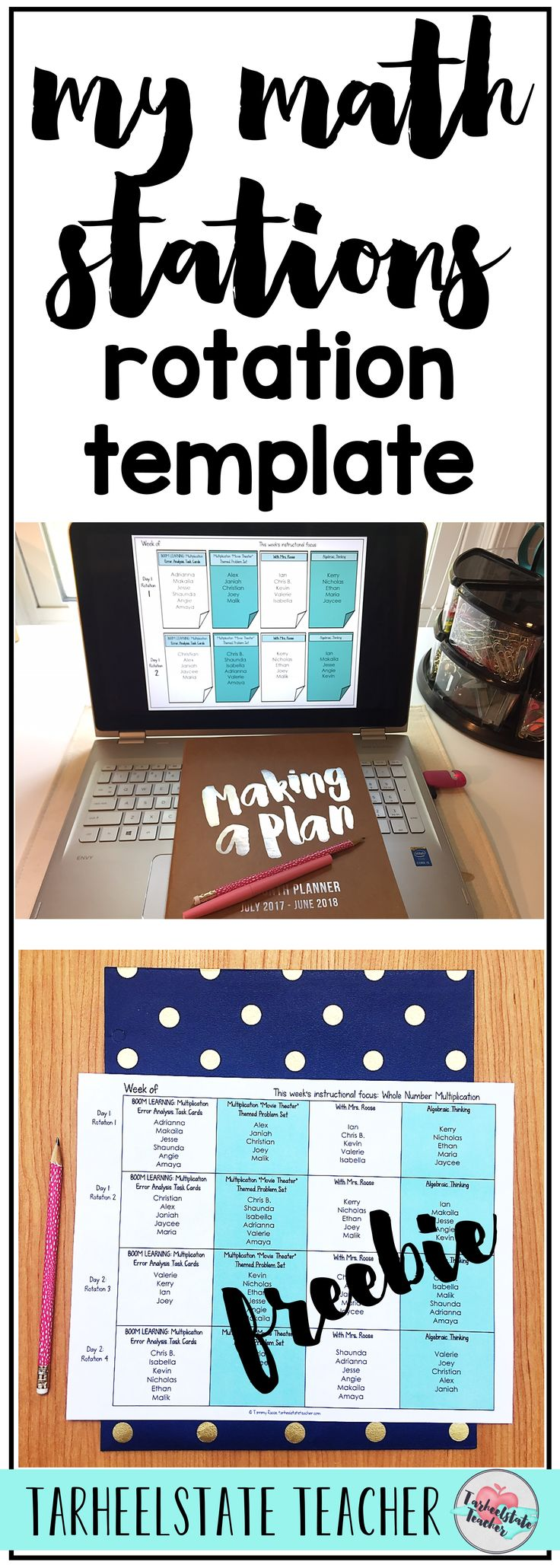 Math Stations Rotation Template   Math Stations Schedule Board   I'm sharing how I schedule my math stations rotations. Grab your free editable math rotations station template for upper elementary math stations. Learn how my math stations are differentiated within the schedule of assignments. Find out how I manage my stations without using a bulletin board