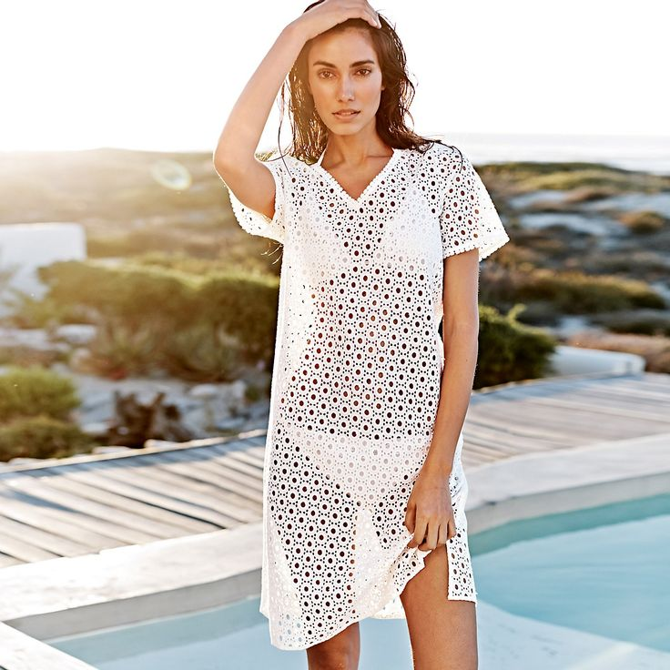 Broderie Lace Tunic | The White Company. Shopping from the US? -> http://us.thewhitecompany.com/Clothing/Dresses-%26-Tunics/Broderie-Lace-Tunic/p/BRCDF?swatch=White