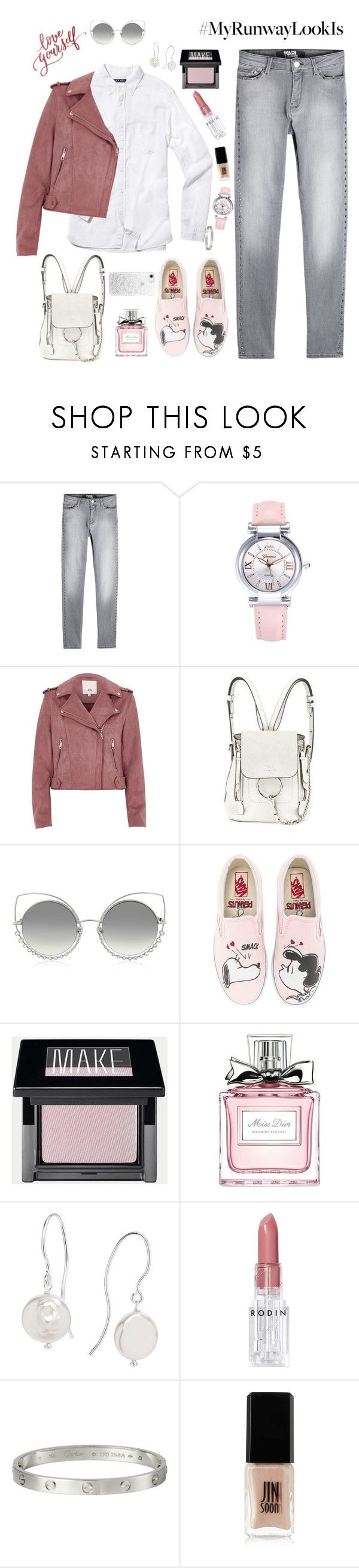 """""""Love yourself"""" by giotabi ❤ liked on Polyvore featuring Karl Lagerfeld, Alex Mill, River Island, Chloé, Marc Jacobs, Vans, Christian Dior, Claudia Bradby, Rodin and JINsoon"""