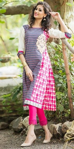 Beautiful Navy Blue And Pink Cotton Printed Kurti.