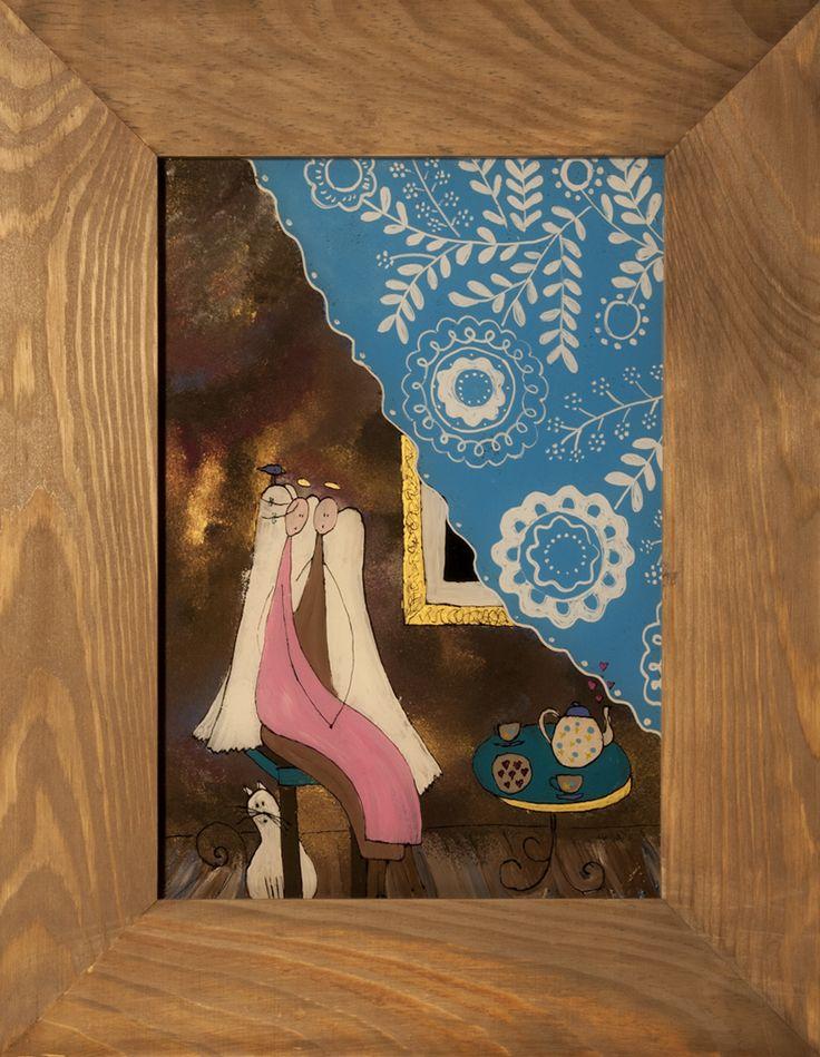W kawiarni! - malarstwo na szkle - seria Anioły!