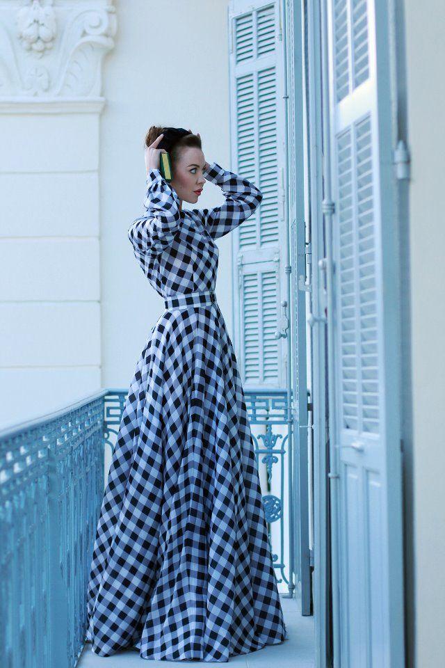 long blue plaid dress...interesting
