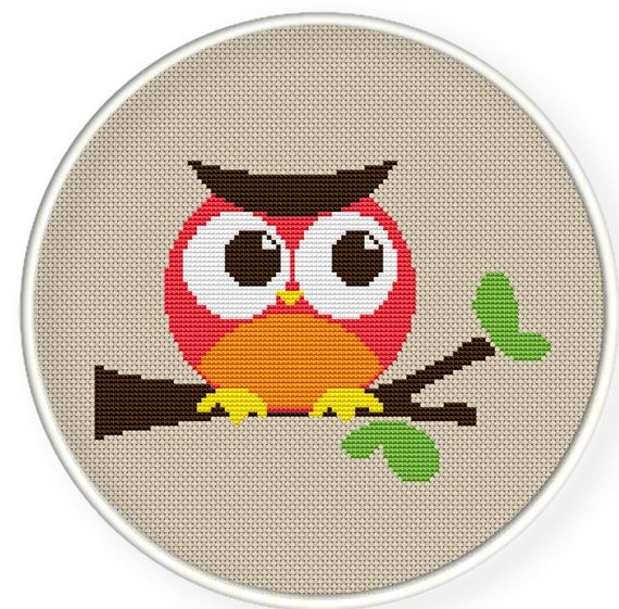 Orange owl ,Cross stitch pattern by danceneedle on Etsy, $3.50