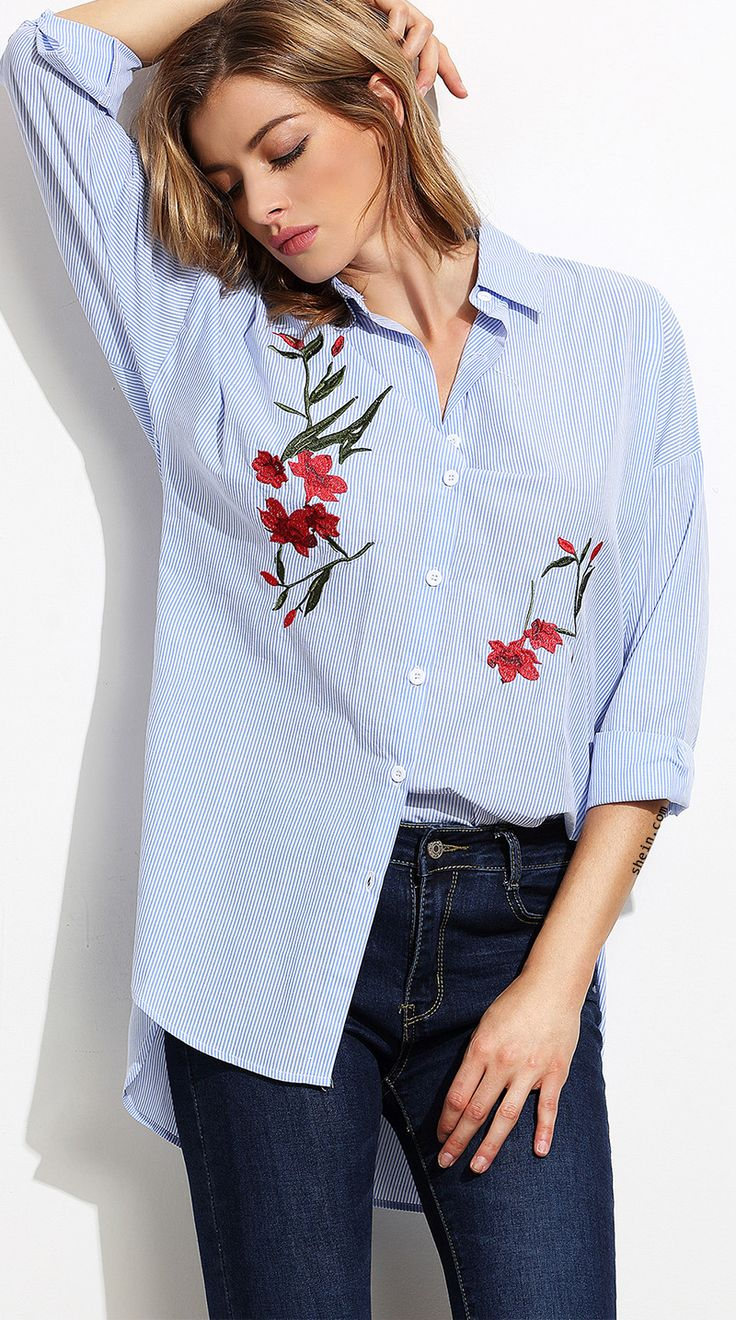 Boutique made-Blue Stripe Embroidery High Low Split Side Blouse. 40% off 1st order!