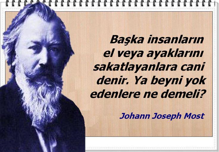 Başka insanların el veya ayaklarını sakatlayanlara cani denir. Ya beyni yok edenlere ne demeli? Johann Joseph Most