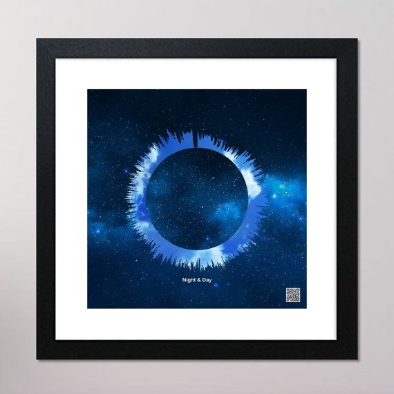 Night & Day Circular Sound Wave Framed Print With Contactless Playback Option 440mm x 440mm