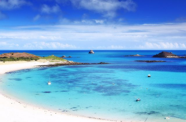 Tropical paradise? Nope. Scilly Isles off the coast of Cornwall. This year's holiday destination!