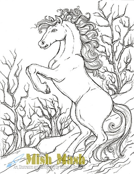 Coloring Pages Horse Horses Set Of 3 By MishMashArt 199