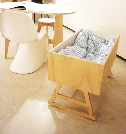 plywood cradle, interior painted white