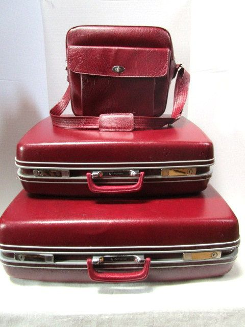 3 Piece Vintage Luggage Set w/ Key, Samsonite Profile, Maroon  Extra Large + Large Suitcase + Soft Side Shoulder Bag Carry On, Travel Gear by junquegypsy on Etsy
