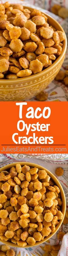 Taco Oyster Crackers Recipe ~ Quick, Easy Snack Mix Recipe that's Got a Kick to it! No One Will Be Able to Stop Munching on These! ~ https://www.julieseatsandtreats.com