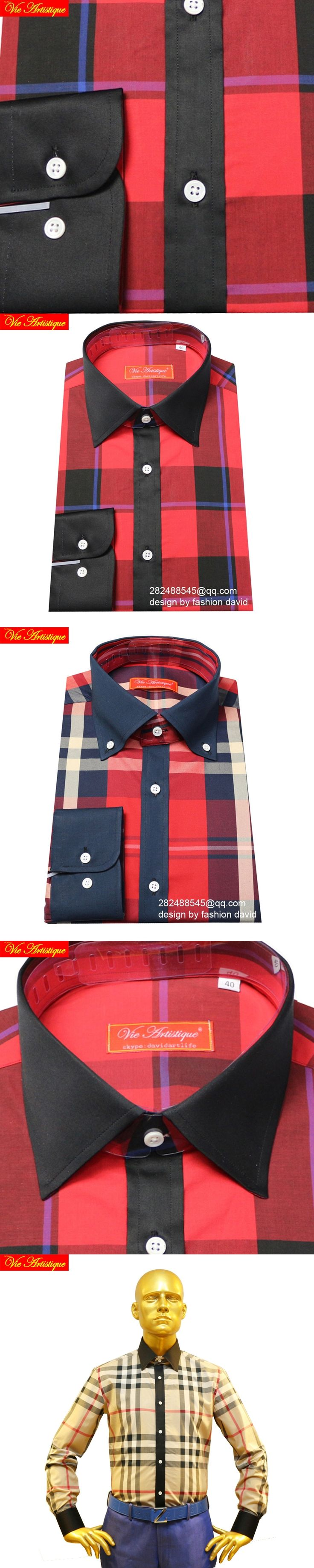 male long sleeve casual dress shirts men's big plus size plaid shirt Scotland red checked 100% cotton high quality tailored 2018