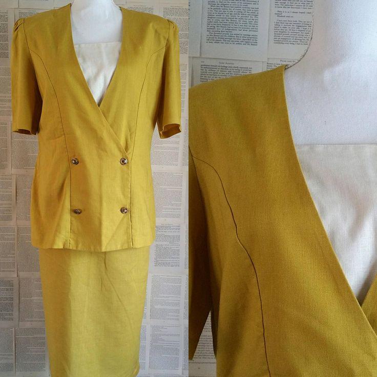 Vintage Mustard Skirt & Matching Top 1980s - 1990s Size 14 by MyVintageSundays on Etsy