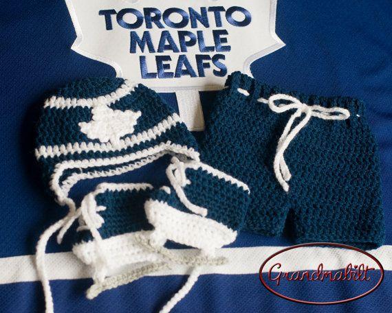 MAPLE LEAF BABY Hockey Boys Crocheted Blue and White ...