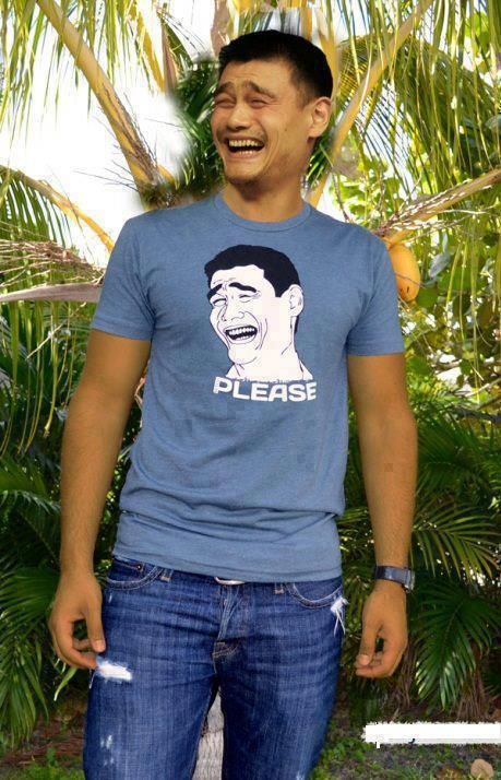 Yao Ming with cartoon Yao Ming.This Man, Funny Pics, Real Life, Troll Face, The Real, Funny Face, The Face, Happy Monday, Funny Commercials