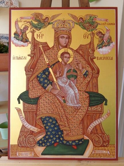 Virgin Mary and Child Enthroned  120 x 60 cm gold leaf 23k By www.anatasipsixis.com