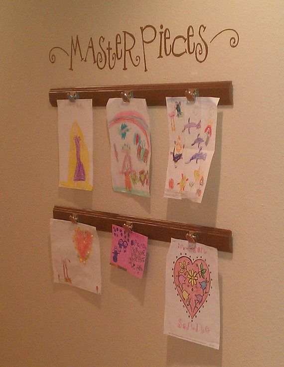 Large Masterpieces Wall Decal Childrens Decor  vinyl Lettering for Kids Art Wall Display with swirls. $16.00, via Etsy.