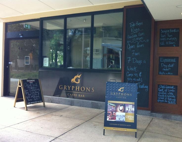 Gryphons Caffe Bar - A Frame Signage design & development