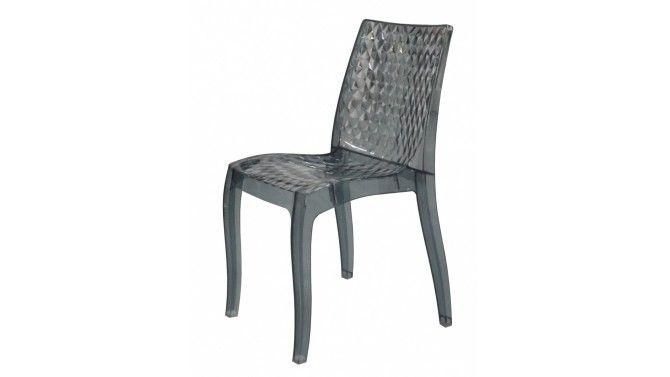 Chaise polycarbonate fumée gris clair - Andréa