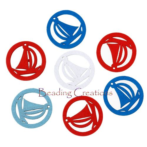 CHARMS   WOODEN  SAIL BOAT  RANDOMLY MIXED  CHARM SIZE:25mm Diameter  HOLE SIZE: 1.4mm  THICKNESS: 1.6mm
