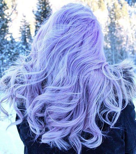 20 Long Curly Hair Color Ideas: #9. Light Pastel Purple Blue; #longhair; #purplehair