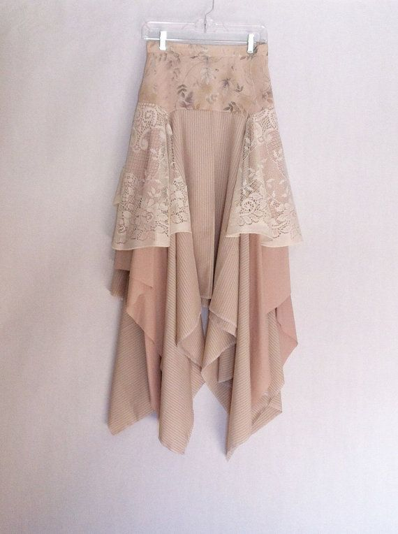 Upcycled Clothing Skirt Handkerchief Hem Skirt Gypsy by TatteredFx, $49.99