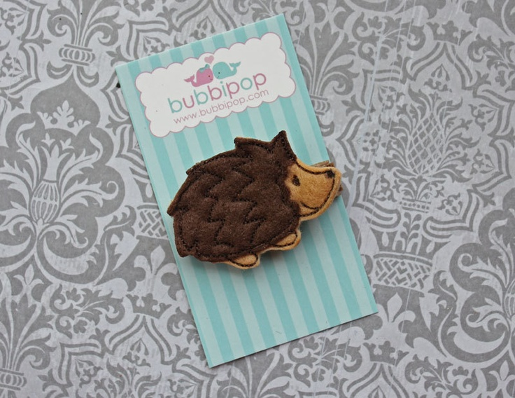 Felt Hair Clip Woodland Brown Hedgehog Felt No Slip Clippie. $3.49, via Etsy.