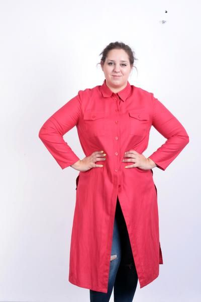 Michele Boyard Womens 16 L/XL Dress Red Leinen Buttons Down - RetrospectClothes