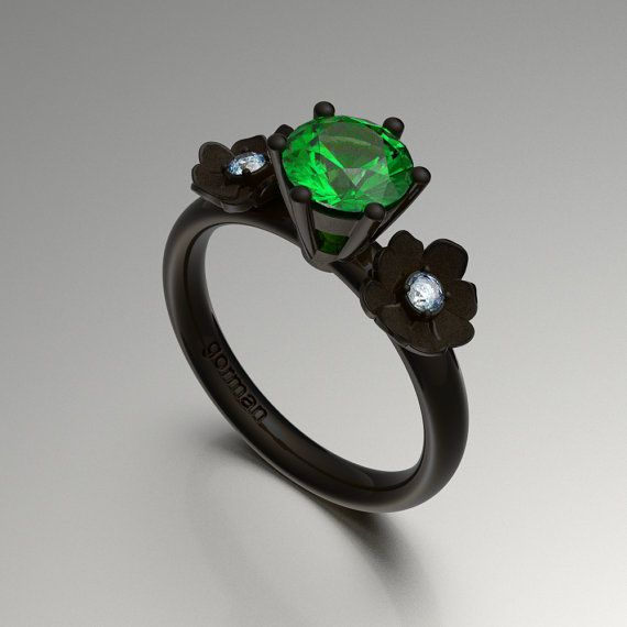 Nature Classic 14K Black Gold 1.0 Ct Tsavorite by GormanDesigns