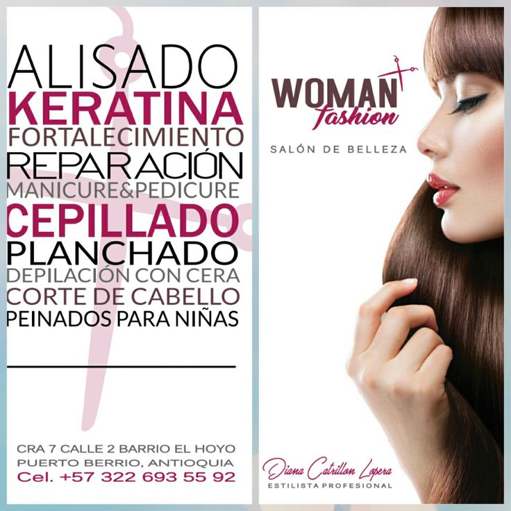 Diseño de tarjeta del salón  de belleza WOMAN FASHION.