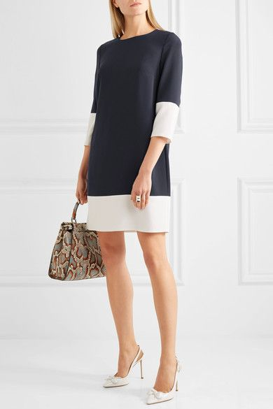 Max Mara - Two-tone Crepe Dress - Navy - UK18