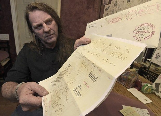 Santa Clarita resident Michael Channels displays a copy of Charles Manson' s 2002, last will and testament leaving Channels all of Manson's possessions and custody of his body. Tuesday, December 12, 2017. (Photo by Dan Watson / SCNG)
